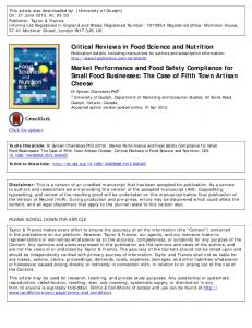Critical Reviews in Food Science and Nutrition Market ...