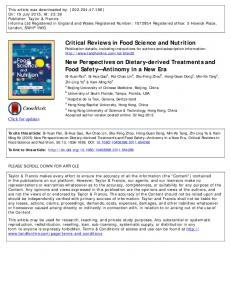 Critical Reviews in Food Science and Nutrition New ...