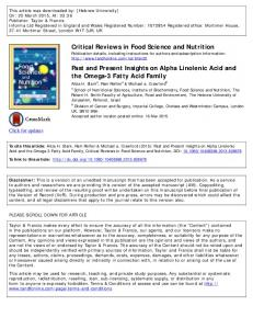 Critical Reviews in Food Science and Nutrition Past