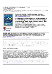 Critical Reviews in Food Science and Nutrition Prevalence ... - UniMI