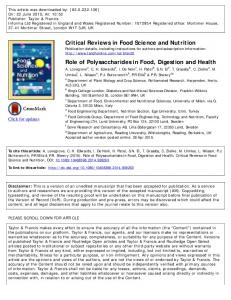 Critical Reviews in Food Science and Nutrition Role ...
