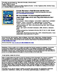 Critical Reviews in Food Science and Nutrition Serine