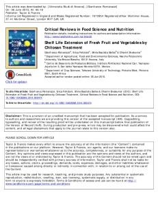 Critical Reviews in Food Science and Nutrition Shelf