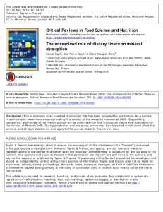 Critical Reviews in Food Science and Nutrition The ...