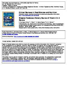 Critical Reviews in Food Science and Nutrition