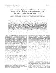 Critical Role for Alpha/Beta and Gamma ... - Journal of Virology