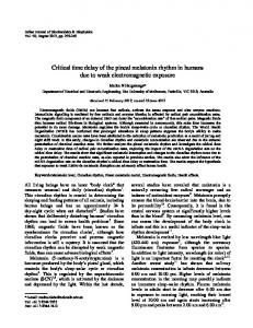 Critical time delay of the pineal melatonin rhythm ... - Semantic Scholar