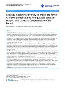 Critically examining diversity in end-of-life family caregiving - CiteSeerX