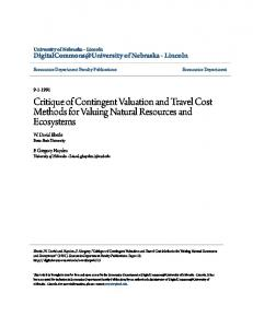 Critique of Contingent Valuation and Travel Cost