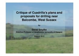 Critique of Cuadrilla's plans and proposals for drilling ... - David Smythe
