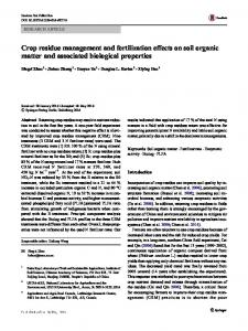 Crop residue management and fertilization effects on soil organic ...