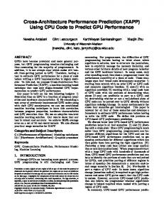 Cross-Architecture Performance Prediction (XAPP ... - Semantic Scholar