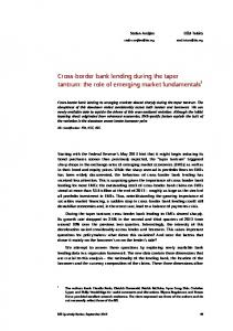 Cross-border bank lending during the taper tantrum - Bank for