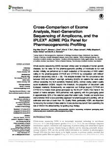 Cross-Comparison of Exome Analysis, Next-Generation ... - Frontiers