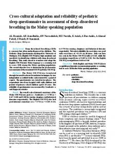 Cross-cultural adaptation and reliability of pediatric ... - Springer Link
