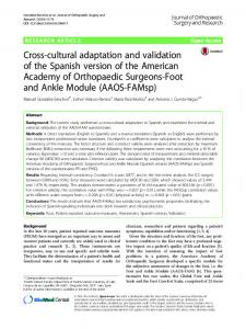 Cross-cultural adaptation and validation of the Spanish ... - Springer Link