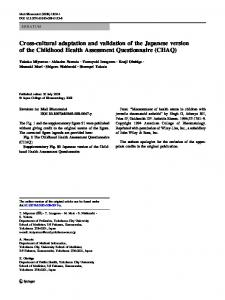 Cross-cultural adaptation and validation of the ... - Springer Link