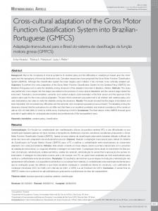 Cross-cultural adaptation of the Gross Motor Function ... - Scielo.br