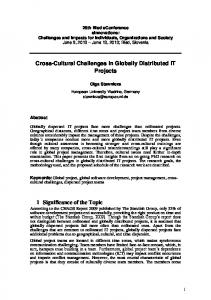 Cross-Cultural Challenges in Globally Distributed IT Projects 1 ... - 9