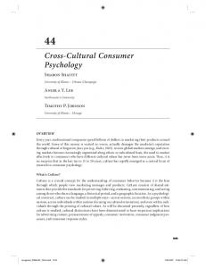 Cross-Cultural Consumer Psychology - Gies College of Business