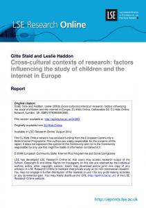 Cross-cultural contexts of research: factors ... - LSE Research Online