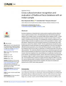 Cross-cultural emotion recognition and evaluation of Radboud ... - PLOS