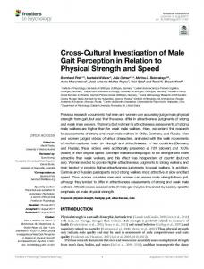 Cross-Cultural Investigation of Male Gait Perception in Relation to ...