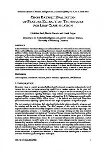 Cross Dataset Evaluation of Feature Extraction ... - Aircc Digital Library