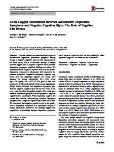Cross-Lagged Associations Between Adolescents ... - Springer Link