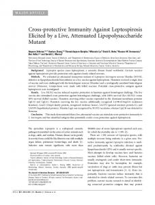 Cross-protective Immunity Against Leptospirosis ... - Oxford Journals