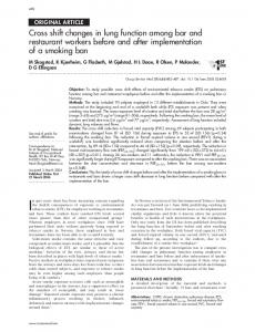Cross shift changes in lung function among bar and restaurant ...