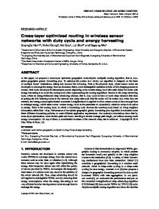 Crosslayer optimized routing in wireless sensor ... - Semantic Scholar