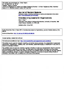 Crowdsourcing Lessons for Organizations