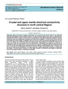 Crustal and upper mantle electrical conductivity ... - Academic Journals