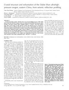 Crustal structure and exhumation of the Dabie Shan ... - Stanford Earth