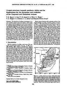 Crustal structure beneath southern Africa and its ... - Semantic Scholar
