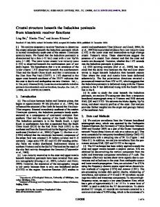 Crustal structure beneath the Indochina peninsula from teleseismic ...