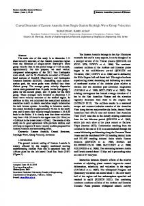 Crustal Structure of Eastern Anatolia from Single-Station ... - DergiPark