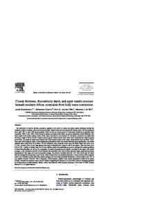 Crustal thickness, discontinuity depth, and upper mantle ... - CiteSeerX