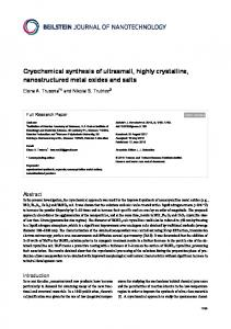 Cryochemical synthesis of ultrasmall, highly ... - Beilstein Journal