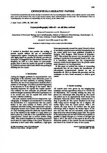 Cryocrystallography with oil - an old idea revived - IUCr Journals