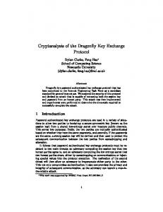 Cryptanalysis of the Dragonfly Key Exchange Protocol - Newcastle ...
