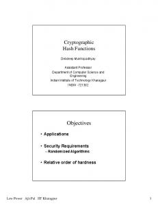 Cryptographic Hash functions - Department of Computer Science ...