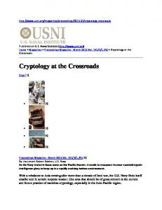 Cryptology at the Crossroads