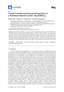 Crystal Growth and Associated Properties of a