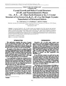 Crystal Growth and Defect Crystal Structure of CdF2 ... - Springer Link