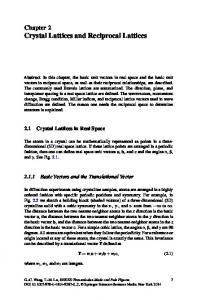 Crystal Lattices and Reciprocal Lattices - Springer