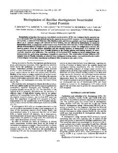 Crystal Proteins - Applied and Environmental Microbiology - American