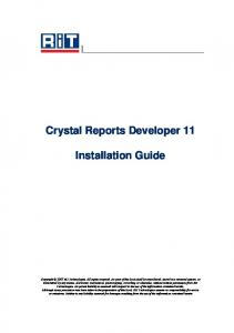 Crystal Reports Developer 11 Installation Guide - RiT Technologies