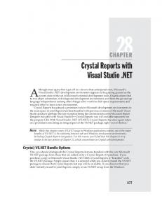 Crystal Reports with Visual Studio .NET